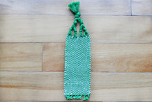 Load image into Gallery viewer, Plain small cotton bookmark, handwoven bookmark, green & white, decorative fringe, Hampshire Hill