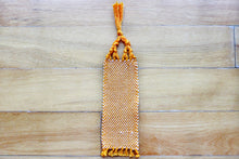 Load image into Gallery viewer, Plain small cotton bookmark, handwoven bookmark, orange, decorative fringe, Hampshire Hill