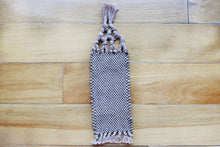 Load image into Gallery viewer, Plain small cotton bookmark, handwoven bookmark, linen, brown, decorative fringe, Hampshire Hill