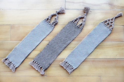 Plain large cotton bookmark, handwoven bookmark, linen, brown & blue, brown, decorative fringe, Hampshire Hill