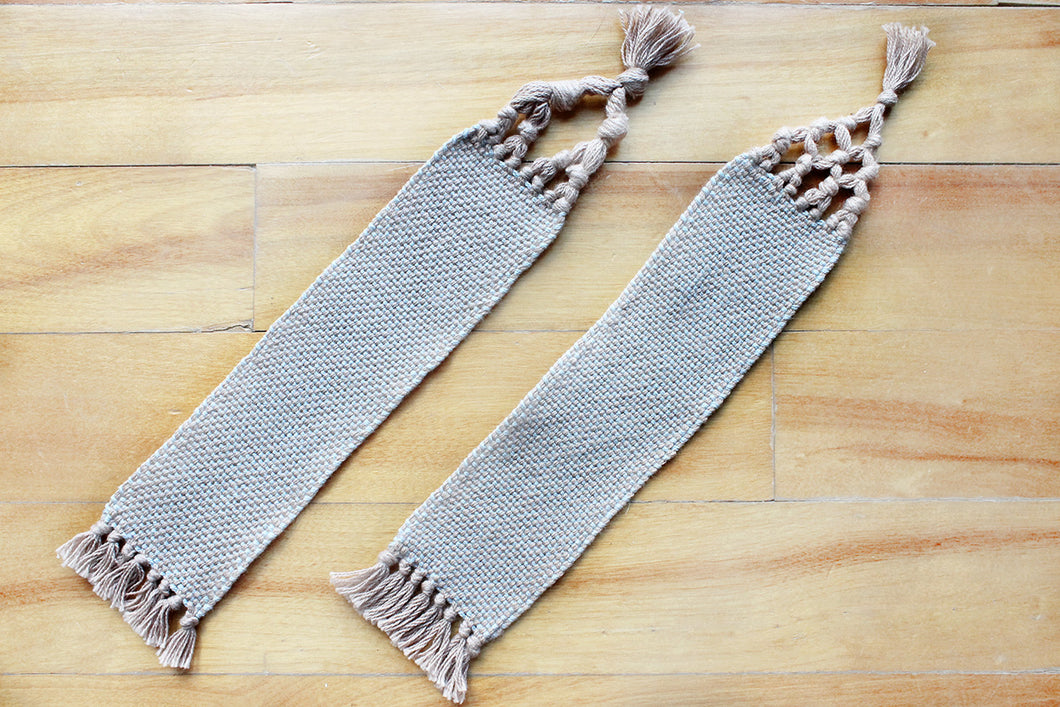Plain large cotton bookmark, handwoven bookmark, brown & blue, decorative fringe, Hampshire Hill
