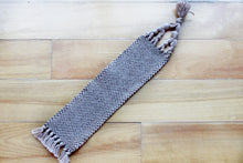 Load image into Gallery viewer, Plain large cotton bookmark, handwoven bookmark, linen, brown, decorative fringe, Hampshire Hill