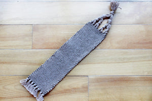 Plain large cotton bookmark, handwoven bookmark, linen, brown, decorative fringe, Hampshire Hill