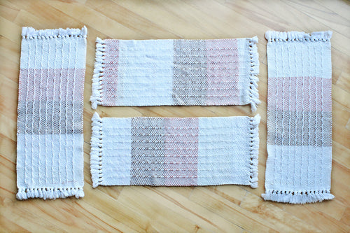 Colour block window weave cotton placemats: Set of four, handwoven placemats, pink/brown/offwhite/white, Hampshire Hill
