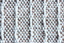 Load image into Gallery viewer, Colour block window weave cotton table runner, handwoven table runner, pink/brown/offwhite/white, decorative fringe, Hampshire Hill