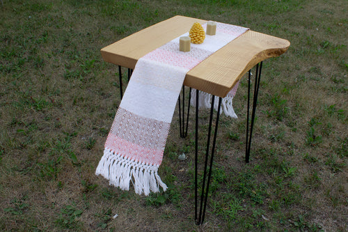 Colour block window weave cotton table runner, handwoven table runner, pink/brown/offwhite/white, decorative fringe, Hampshire Hill