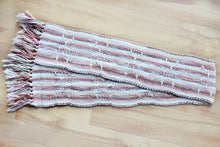 Load image into Gallery viewer, Brown brooks bouquet cotton table runner, handwoven table runner, brown/pink/offwhite/white, Hampshire Hill