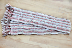Brown brooks bouquet cotton table runner, handwoven table runner, brown/pink/offwhite/white, Hampshire Hill