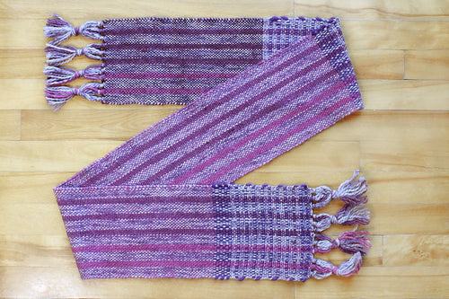 Striped purple wool scarf, handwoven scarf, Peruvian Highland wool, Merino wool, alpaca, silk, purple/pink, Hampshire Hill