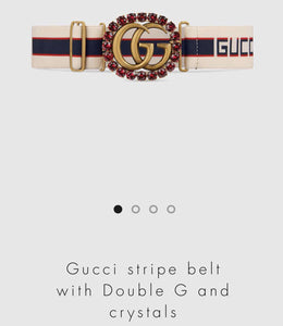 fb8f8dd9a15 Gucci Stripe Belt with Double G and Crystals – Dwestkickz