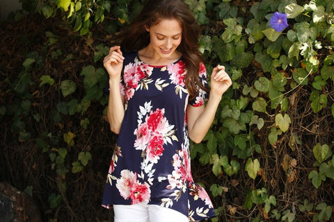 Floral Back Ruffle Sleeve Tunic