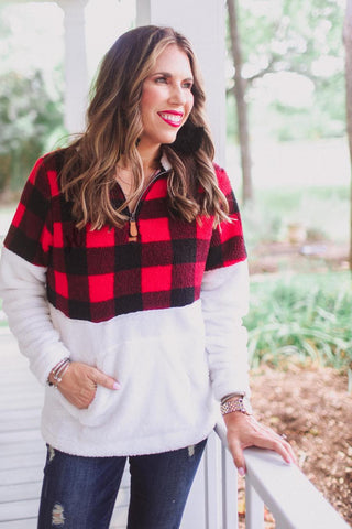Buffalo Plaid Kangaroo Pullover