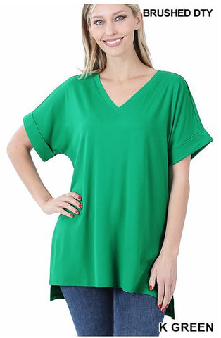 Basic Green V-Neck Tee
