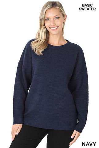 Round Neck Basic Navy Sweater