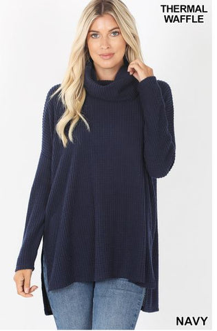Thermal Cowl Neck Sweater in Navy