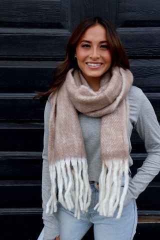 Brown Long Scarf with Fringe