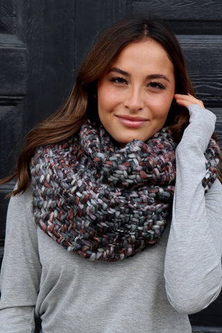 Charcoal, Emerald, Brown Infinity Scarf