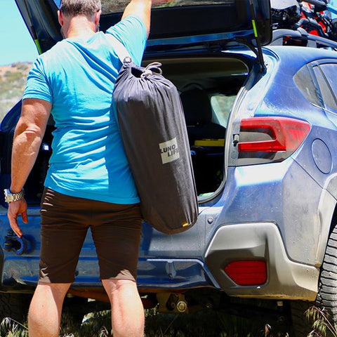Carrying case for camping air mattress, camping mattress, full air mattress, car bed, sleeping in car trunk