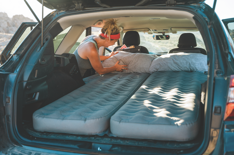 The Luno Life Air Mattress 2.0 comfortably sleeps two on a full size inflating car air mattress