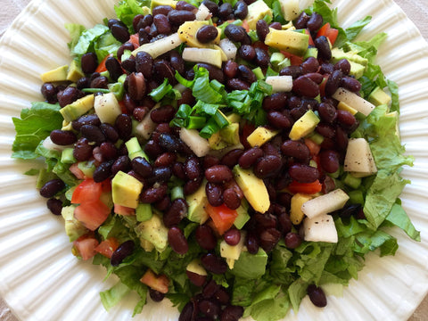 Bean salad is an easy camping dinner packed with filling protein.