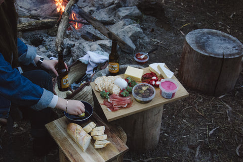 A charcuterie board is an easy camping meal that hits all the key food groups.