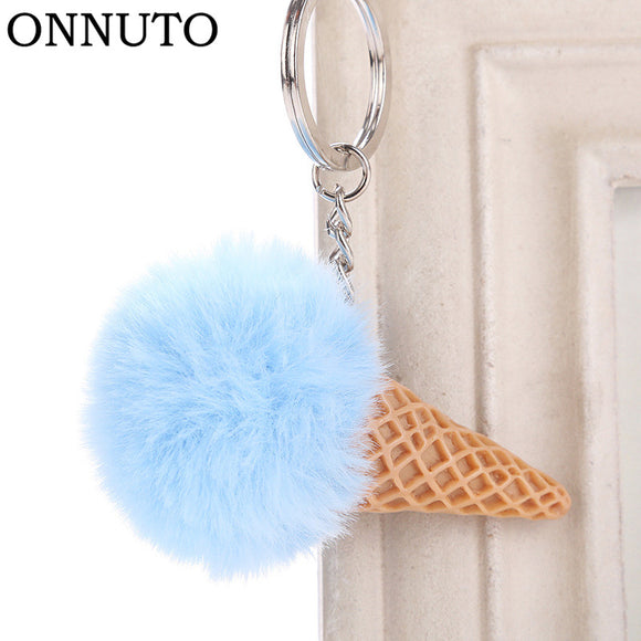 Fur Ball Ice Cream Cone Keychain Furry Acrylic Key Chain Ring Keyring Pompon Backpack Women Shoulder Bags Pendant
