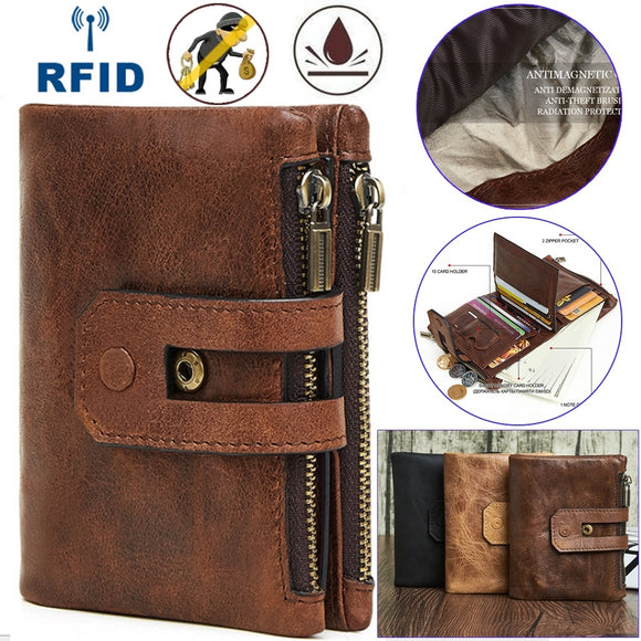 Wallet Men Leather Genuine Vintage Coin Purse Zipper&Hasp Men Wallets Small Perse Solid RFID Card Holder Short Card