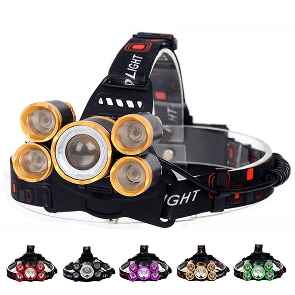 LED Headlamp 50000lm 5*T6 Headlamp Bike Head Lamp Light 18650 Rechargeable Fishing Camping Flashlight