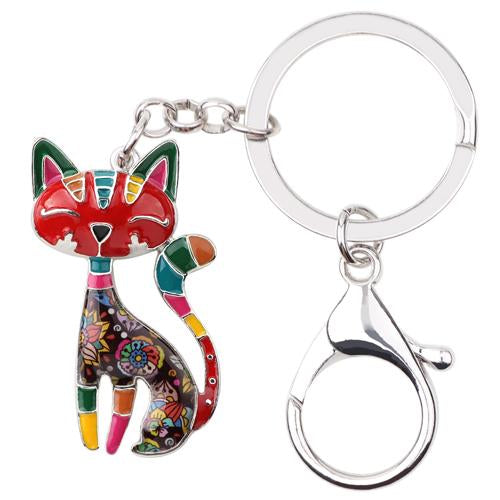 Metal Enamel Cat Key Chain
