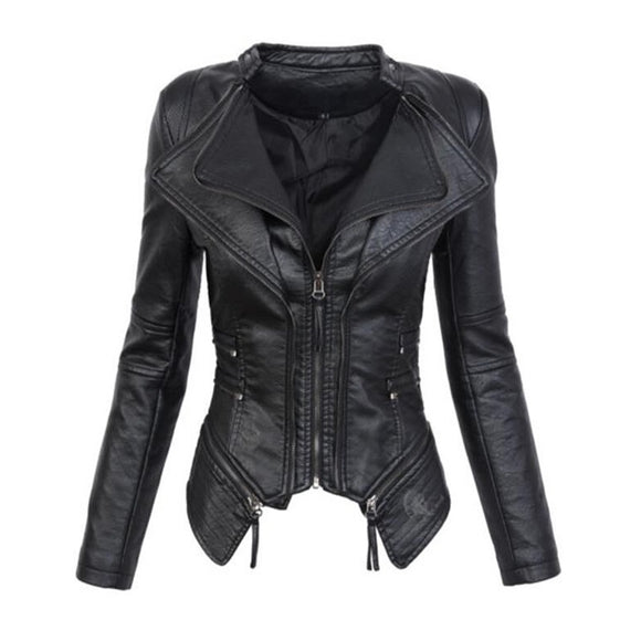 New Arrival Women Leather Jacket Zip Up Short Jacket Coat Black Motorcycle Outerwear