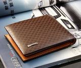 Men's Plain and Simple Genuine Leather Plaid Wallet