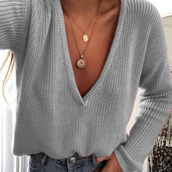 Elegant Autumn Winter Sweater Women's Knitted Sweaters Women Deep V Neck Sweaters casual Female Tops Pull Femme