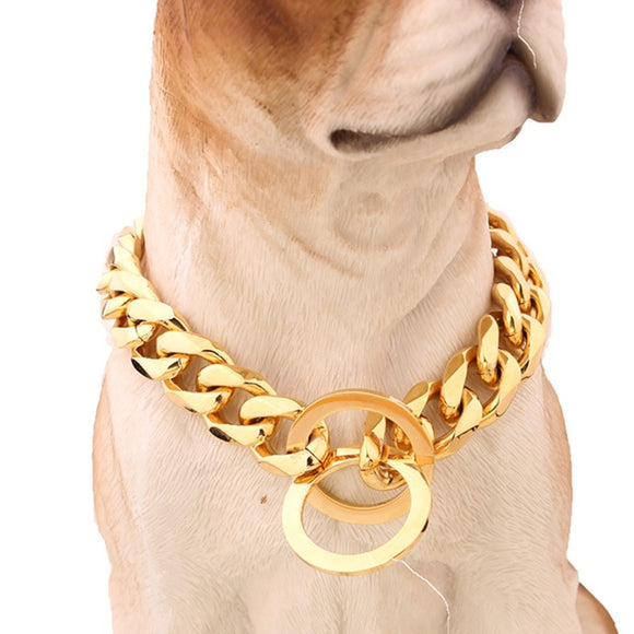 15mm Stainless Steel Pet Collar Fashion Pet Dog Chain Pit Bull Collar Gold Pet Chain Collar