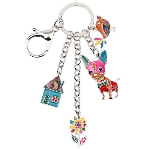 Enamel Metal Chihuahua Dog Bird Flower House Key Chain