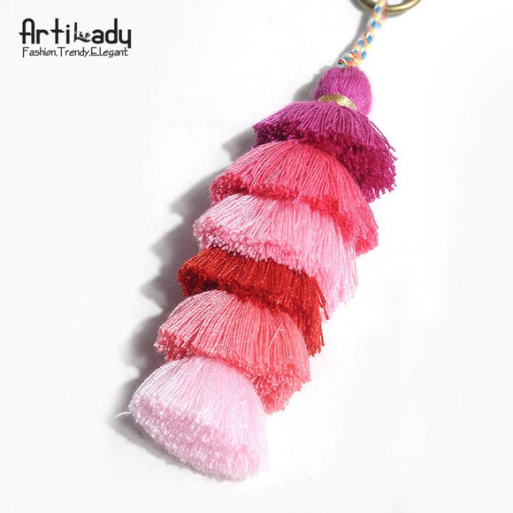 Artilady Stylish Handmade Tassel Bag Charm Six Layers With Gradient Color Key Chain