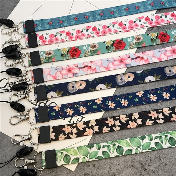 Flower Fresh Leaves Neck Strap Lanyard for Keys ID Card Gym Mobile Phone Straps USB Badge Holder DIY Hang Rope Lariat Multi-func