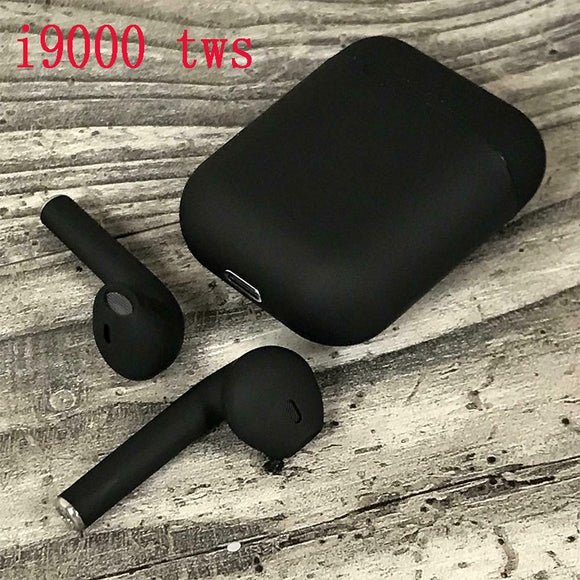 New i9000 tws matte black smart Bluetooth earphones with QI wireless charging 6D heavy bass black earbuds PKi200 i500 i10000 tws