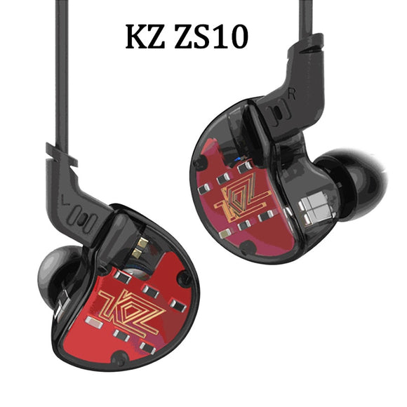 KZ ZS10 Earphones 4BA+1 DD Hybrid In Ear Headphone HIFI Bass Headset DJ Monitor Earphone Earbuds KZ ZS6 AS10 ZST ES4 ED16 BA10