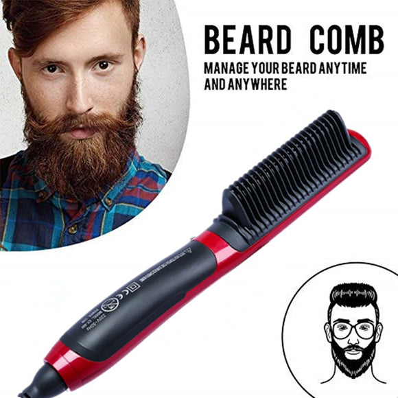Men's All In One Ceramic Hair Styling Iron Comb Beard Straightener Curler Set Volumize Hair Styler for Men Straightening Brush