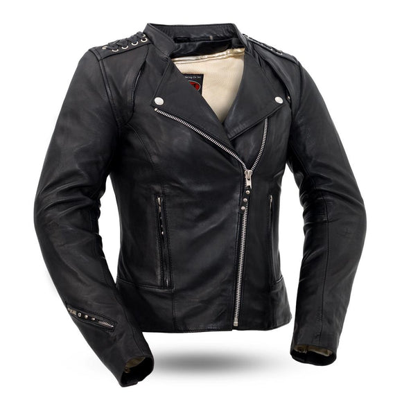 Biker Leather Jacket    Black Widow    FIL191SDMZ    Ladies -Conceal Carry Pockets