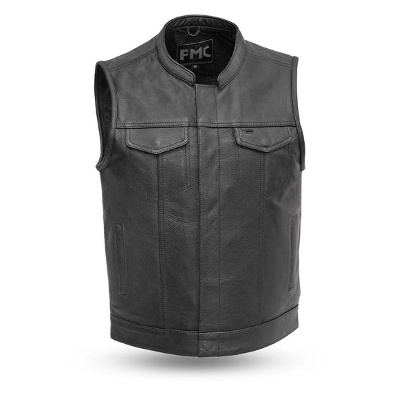 Biker Leather Vest - BLASTER - FMM690BSF - Men's Black - With Conceal Carry Pockets