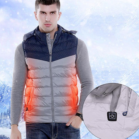 USB Smart Heating Men's Cotton Vest With Color Matching Hood