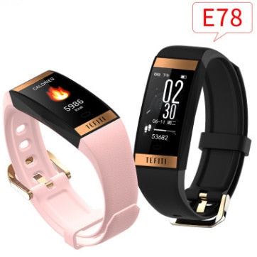 E78 Women bracelet watch men heart rate blood pressure smart wristband fitness band tracker Ip68 waterproof sport watch swim