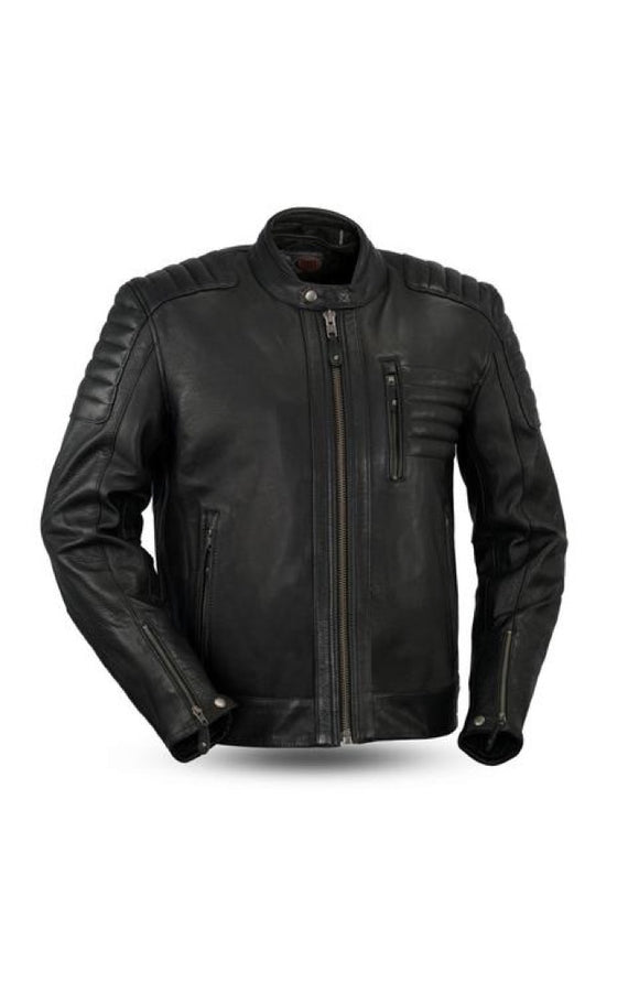 Biker Leather Jacket    Defender    FIM293CHRZ    Mens    Black