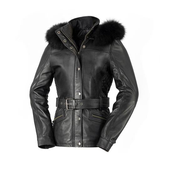 Biker Sheepskin Jacket - ELLE - WBL1053 - Ladies-  Black & Oxblood
