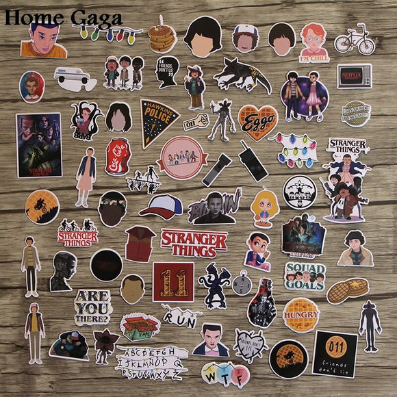 Homegaga 66pcs Stranger things diy 90s Art print notebook phone luggage laptop bicycle scrapbooking album decals stickers D1437