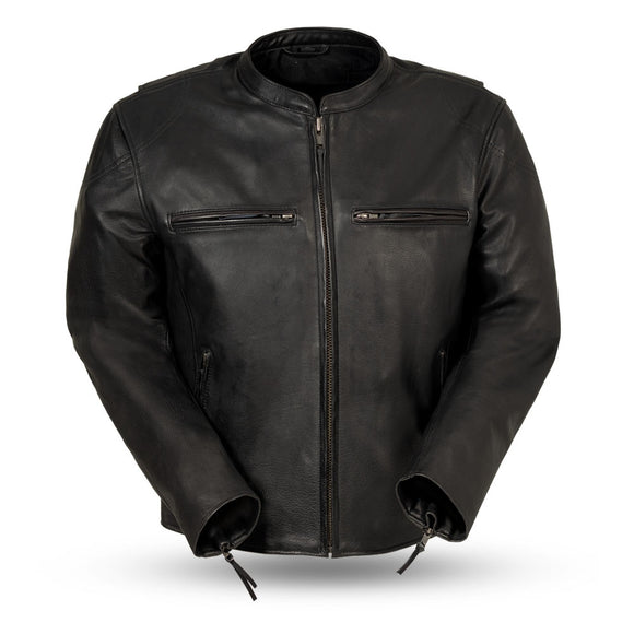 Biker Leather Men's Jacket   Indy  FIM278CDL   Colors:  Black & Antique Brown