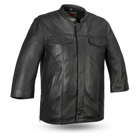 Biker Leather Shirt - MESA - FIM419CDM - With Conceal Carry Pockets