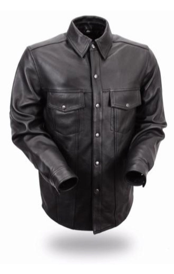 Bikers Leather Shirt   Mens   MILESTONE   FIM403ES   Black - Conceal Carry Pockets