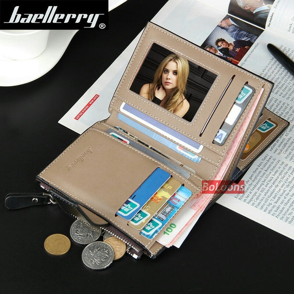 Wallet Baellerry brand Short men Wallets PU Leather Card Holder with Zipper Coin bag